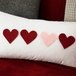 Felt Heart Lumbar Pillow