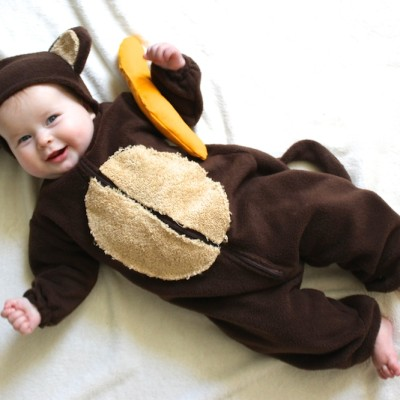 Happy Halloween from a Baby Monkey and a Bunch of Bananas