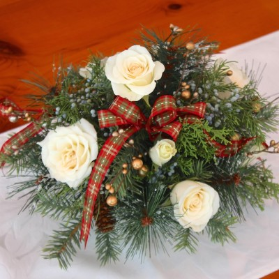 How to Make a Holiday Flower Arrangement with Real and Faux Greenery