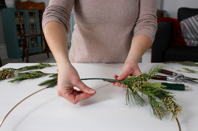 brass-ring-christmas-wreath-making